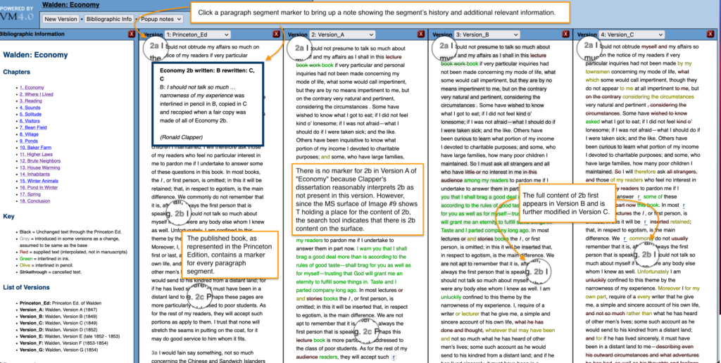 Screen capture of fluid-text edition showing paragraph segment 2b in multiple versions